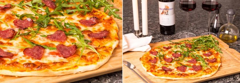 Pizza med hjärtformad salami