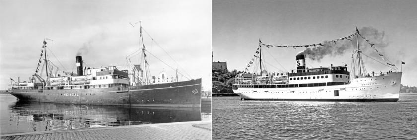 Heimdal 1914 och BRYNHILD nyombyggd utanför Finnboda Varv i september 1936. Foto Erik Holmberg, Sjöfartstidningens arkiv
