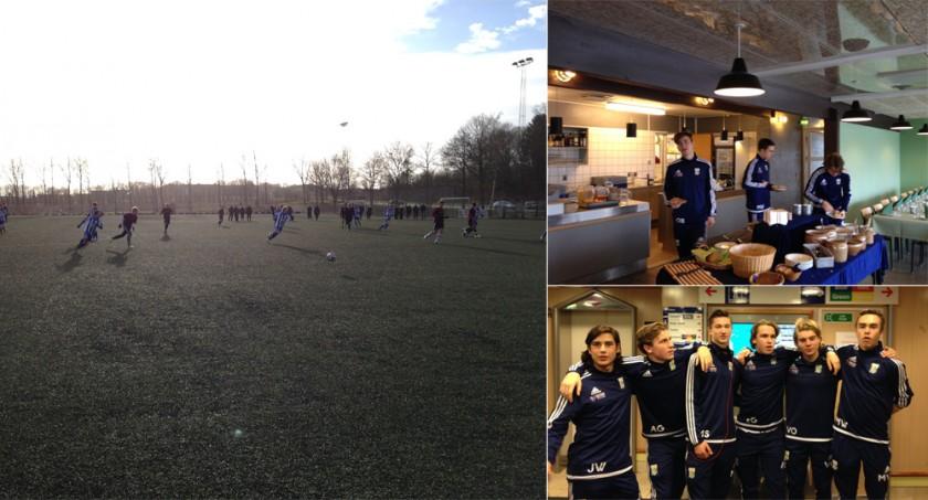 IFK Göteborgs U17-lag på träningsmatch i Ålborg