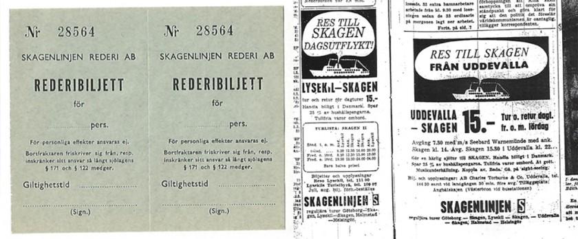 Biljetter från 1963 samt annons i Bohusläningen den 19/7 1963